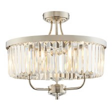 Yetminster 3 Light Semi Flush Crystal Ceiling Light Polished Nickel