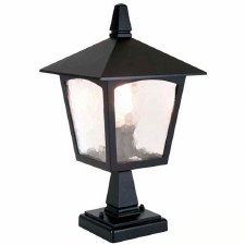 Elstead York Pedestal Lantern Light Black