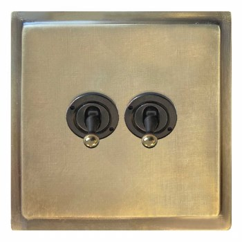 Mode Dolly Switch 2 Gang Antique Satin Brass