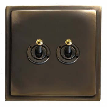 Mode Dolly Switch 2 Gang Dark Antique Relief