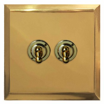 Mode Dolly Switch 2 Gang Polished Brass Lacquered