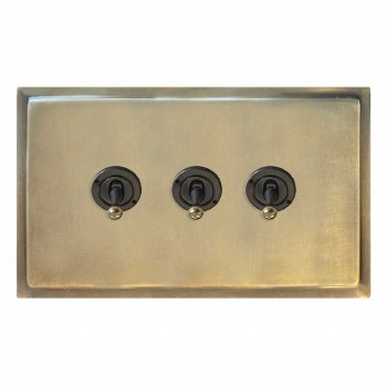Mode Dolly Switch 3 Gang Antique Satin Brass