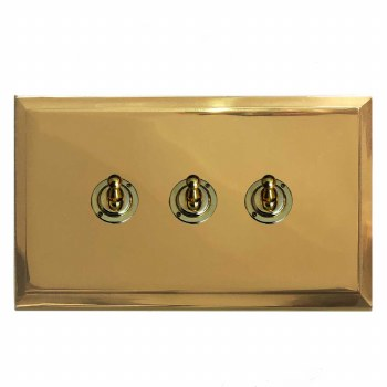 Mode Dolly Switch 3 Gang Polished Brass Unlacquered