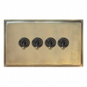 Mode Dolly Switch 4 Gang Antique Satin Brass