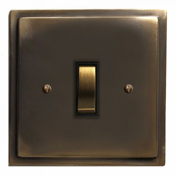 Mode Rocker Light Switch 1 Gang Dark Antique Relief