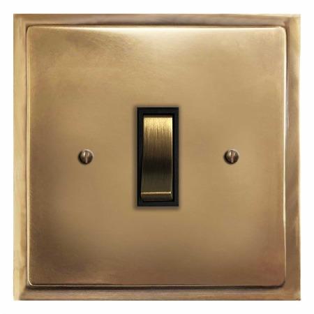 Mode Rocker Light Switch 1 Gang Hand Aged Brass