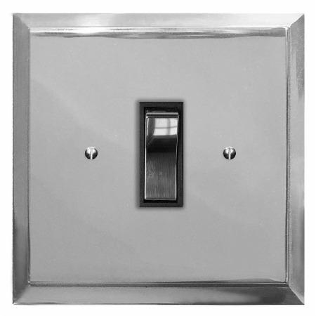 Mode Rocker Light Switch 1 Gang Polished Chrome & Black Trim