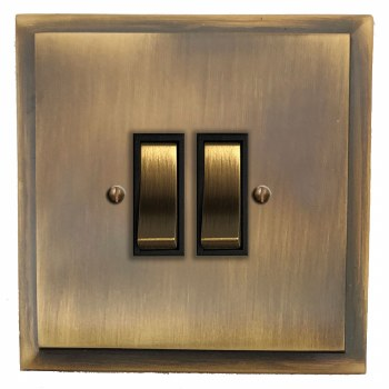Mode Rocker Light Switch 2 Gang Antique Brass Lacquered