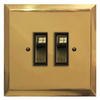 Mode Rocker Light Switch 2 Gang Polished Brass Lacquered & Black Trim