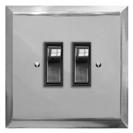 Mode Rocker Light Switch 2 Gang Polished Chrome & Black Trim