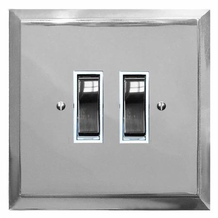 Mode Rocker Light Switch 2 Gang Polished Chrome & White Trim