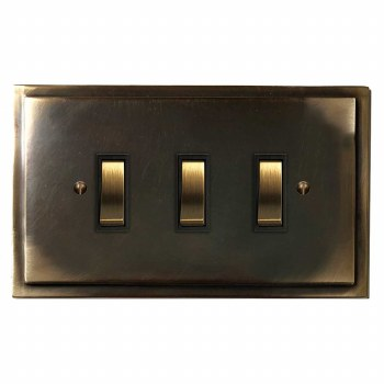 Mode Rocker Light Switch 3 Gang Dark Antique Relief