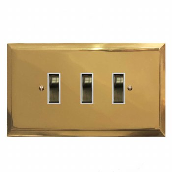 Mode Rocker Light Switch 3 Gang Polished Brass Lacquered & White Trim