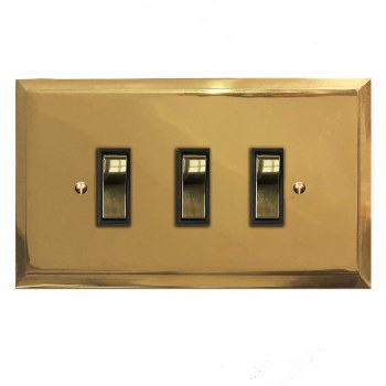 Mode Rocker Light Switch 3 Gang Polished Brass Unlacquered