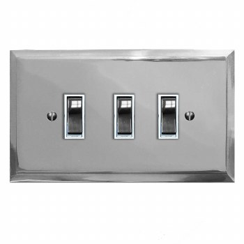 Mode Rocker Light Switch 3 Gang Polished Chrome & White Trim