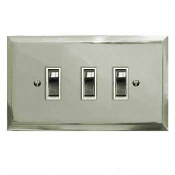 Mode Rocker Light Switch 3 Gang Polished Nickel