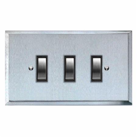 Mode Rocker Light Switch 3 Gang Satin Chrome & Black Trim