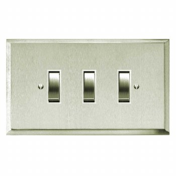 Mode Rocker Light Switch 3 Gang Satin Nickel
