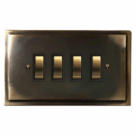 Mode Rocker Light Switch 4 Gang Dark Antique Relief
