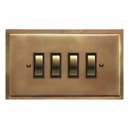 Mode Rocker Light Switch 4 Gang Hand Aged Brass