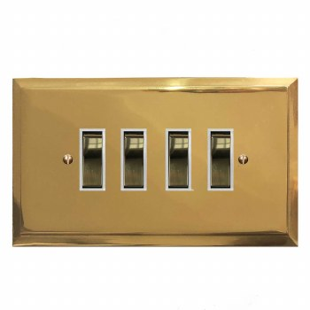 Mode Rocker Light Switch 4 Gang Polished Brass Lacquered & White Trim