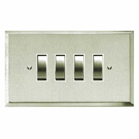 Mode Rocker Light Switch 4 Gang Satin Nickel
