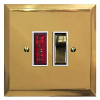 Mode Switched Fused Spur Illuminated Polished Brass Lacquered & White Trim