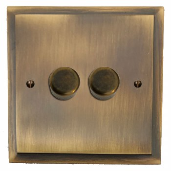 Mode Dimmer Switch 2 Gang Antique Brass Lacquered