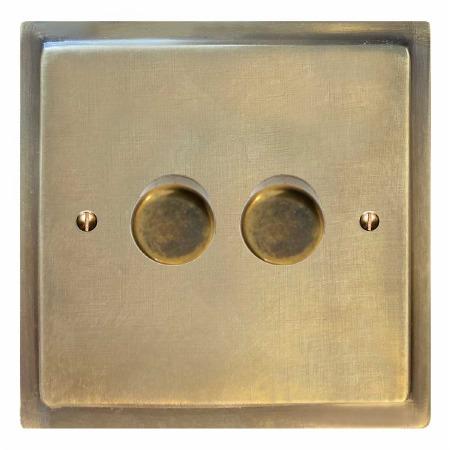 Mode Dimmer Switch 2 Gang Antique Satin Brass