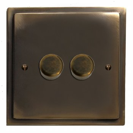 Mode Dimmer Switch 2 Gang Dark Antique Relief