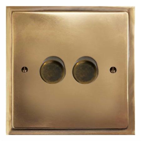 Mode Dimmer Switch 2 Gang Hand Aged Brass