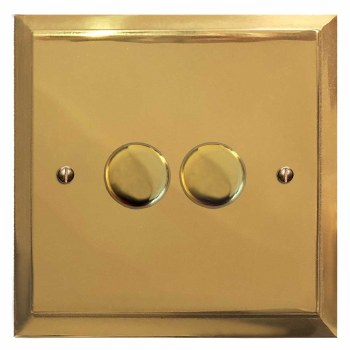 Mode Dimmer Switch 2 Gang Polished Brass Unlacquered