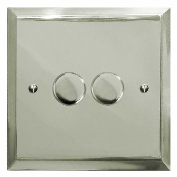 Mode Dimmer Switch 2 Gang Polished Nickel