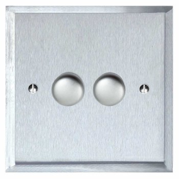 Mode Dimmer Switch 2 Gang Satin Chrome