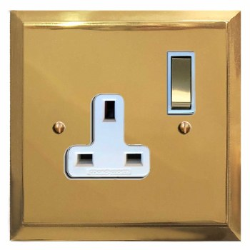Mode Switched Socket 1 Gang Polished Brass Lacquered & White Trim