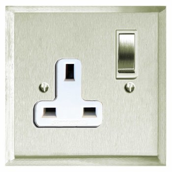 Mode Switched Socket 1 Gang Satin Nickel