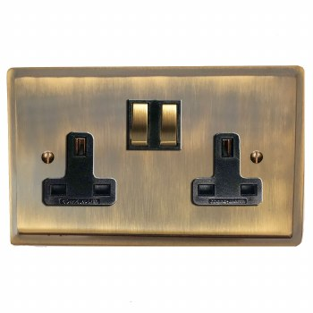 Mode Switched Socket 2 Gang Antique Brass Lacquered
