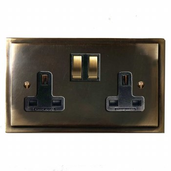 Mode Switched Socket 2 Gang Dark Antique Relief
