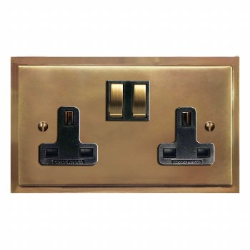Mode Switched Socket 2 Gang Hand Aged Brass