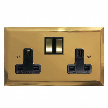 Mode Switched Socket 2 Gang Polished Brass Unlacquered