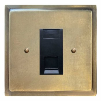 Mode Telephone Socket Secondary Antique Satin Brass