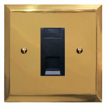 Mode Telephone Socket Secondary Polished Brass Lacquered & Black Trim
