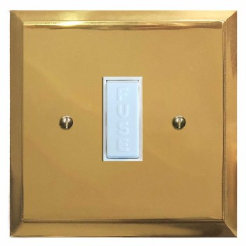 Mode Fused Spur Connection Unit 13 Amp Polished Brass Lacquered & White Trim