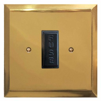 Mode Fused Spur Connection Unit 13 Amp Polished Brass Lacquered & Black Trim