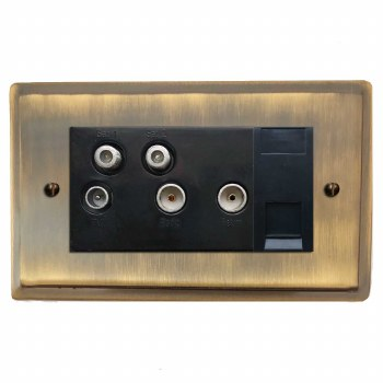 Mode Sky+ Socket Antique Brass Lacquered