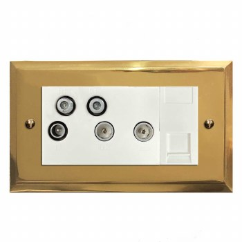 Mode Sky+ Socket Polished Brass Lacquered & White Trim