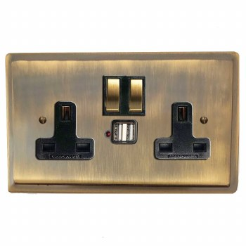 Mode Switched Socket 2 Gang USB Antique Brass Lacquered