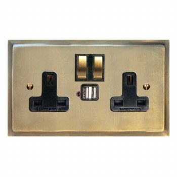 Mode Switched Socket 2 Gang USB Antique Satin Brass