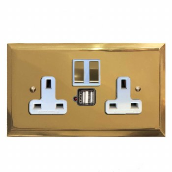 Mode Switched Socket 2 Gang USB Polished Brass Lacquered & White Trim