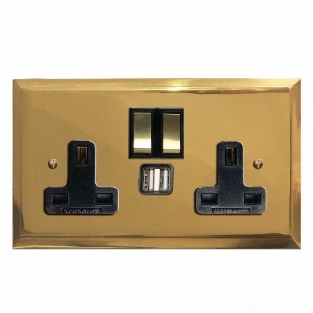 Mode Switched Socket 2 Gang USB Polished Brass Lacquered & Black Trim